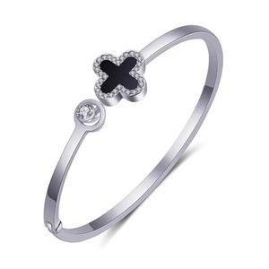 lucky four leaf Clover open hinge bangle